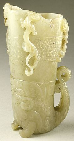 Cup (Guang) in the Form of a Rhyton with Dragons and Scrollwork, China, Middle or late Ming dynasty, about 1450-1644, Abraded jade