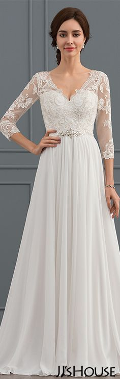 Princess V-neck Sweep Train Chiffon Lace Wedding Dress With Beading  Sequins JJsHouse   e8b0ae8e9e587