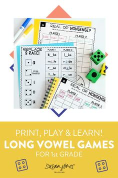 Tons of print and play phonics games and worksheets for long vowels with silent e at the end!