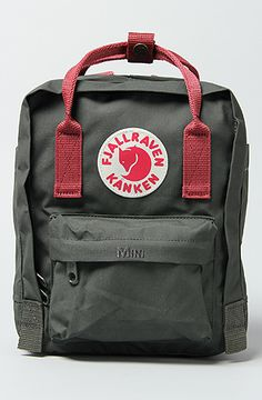 The Kanken Mini Backpack in Forest Green and Ox Red by Fjallraven