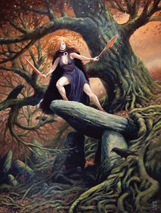 Macha The Irish Goddess of War by McHughstudios on DeviantArt Celtic Goddess, Celtic Mythology, Goddess Art, Celtic Druids, Celtic Tree, Fantasy Illustration, Gods And Goddesses, Deities, Online Art Gallery