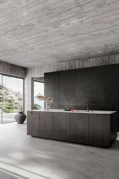 Contemporary home with bare concrete walls and a black kitchen Contemporary interior design, minimalistic decor, bare concrete walls, concrete floors, minimalist black kitchen. Design by Klaudia Adamiak - Add Modern To Your Life Industrial Style Kitchen, Industrial Interior Design, Contemporary Interior Design, Modern Kitchen Design, Modern House Design, Interior Design Kitchen, Industrial Chic, Kitchen Designs, Kitchen Contemporary