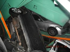 Vehicles are seen piled on themselves in an automated parking tower after the lift system failed during the 6.3 magnitude earthquake that struck off the island's eastern coast in Taipei, Taiwan, on Monday