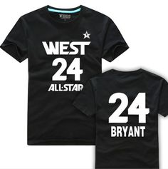 Hot!!! 5 colors Kobe the western all star 24 basketball series Peter Pan T-shirt cotton cotta casual T-shirt free shipping. $17.46