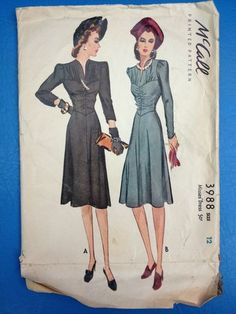 Vintage McCall Pattern 3988 Misses' Dress Size 12 - for sale on Ebay