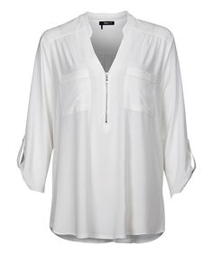 This Dex Ivory Zip Pocket Notch Neck Top - Plus by Dex is perfect! #zulilyfinds