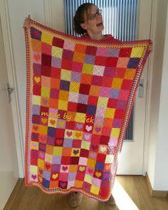Granny square and granny square heart crochet blanket