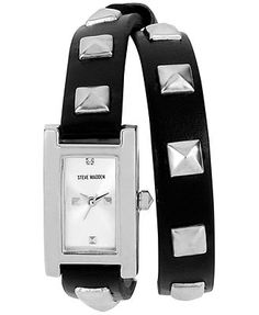 Steve Madden Watch, Women's Silver-Tone Pyramid Studded Black Double Wrap Strap 25x19mm SMW00026-01