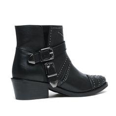 Buckle boots met studs zwart