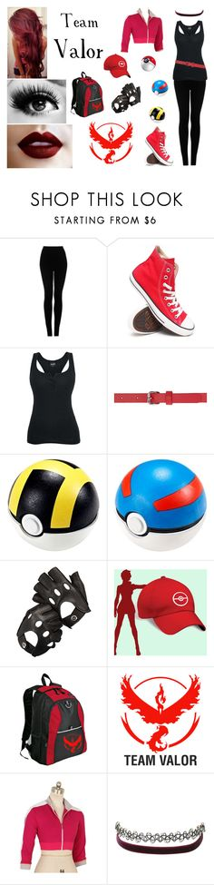 """Pokémon / Pokémon Go / Team Valor / Red"" by heavymetalvampirequeen ❤ liked on Polyvore featuring Topshop, Converse, Versus, Giuseppe Zanotti, Aspinal of London, Valor and Charlotte Russe"