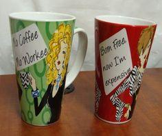 2 NEW CUTE GIRLY DELISH COFFEE CUPS MUGS