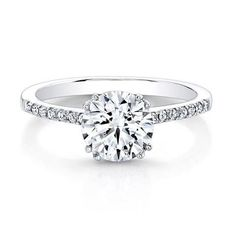14k White Gold, Solitaire Engagement Ring 1.00 carat Round Brilliant Cut Center Stone