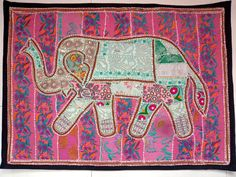 HANDMADE ELEPHANT BOHEMIAN PATCHWORK WALL HANGING EMBROIDERED TAPESTRY INDIA X10…