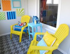 McKenzie of Girl Loves Glam took on an enclosed porch makeover and used our Houndstooth Stencil to transform the tiled floor!