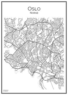Olso. Norge. Map. City print. Print. Affisch. Tavla. Tryck. Stadskarta.