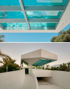 Jellyfish House: Cantilevered Rooftop Pool with Glass Floor Amazing Architecture, Modern Architecture, Dream Home Design, House Design, Glass Pool, Modern Pools, Rooftop Pool, Soho House, Stone Houses