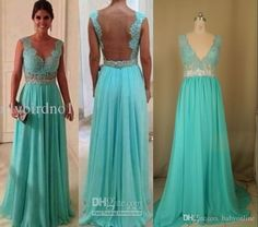 2015 Chiffon Custom Made A Line Formal Evening Celebrity Dresses Crew Sheer Tulle Back Lace Appliques Sweep Train Prom Gowns BO1065 Online with $98.96/Piece on Babyonline's Store | DHgate.com