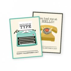 """Vintage inspired Office themed Valentines to tell your co-workers, """"You're just my type"""" and """"You had me at hello."""""""