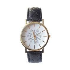 Zegarek czarny śnieżynka pikowany