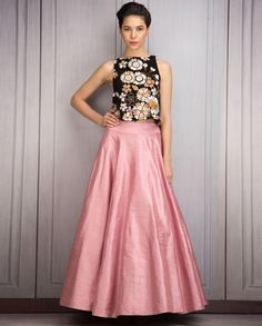 Salmon Pink Lengha and Crop Top - New Arrivals