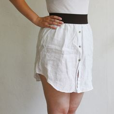Turning a mens button down into a skirt. I love this. Cute and fun. Grab a mens button down from Goodwill and get to cutting :)