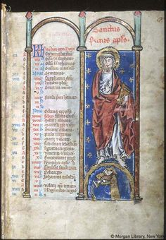 Psalter-hours (MS M.94). Cologne, Germany, between 1250 and 1274.  MS M.94  fol. 1r; Apostle Peter
