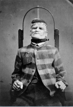 L0019069 Man in restraint chair; by H. Clarke; 1869