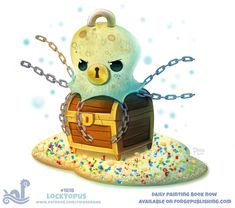 Daily Paint Locktopus by Cryptid-Creations on DeviantArt Cute Food Drawings, Cute Animal Drawings, Kawaii Drawings, Cute Creatures, Fantasy Creatures, Mythical Creatures, Cute Puns, Animal Puns, Kawaii Doodles