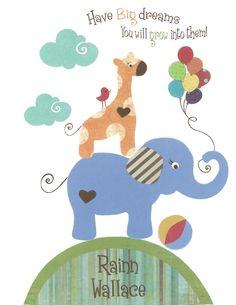 Baby boy nursery, Baby elephant art, giraffe nursery art, baby art print, Circus animals Pottery Barn, Migi Alphabet, train decor on Etsy, $17.00