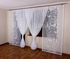 Biały Komplet Firan Gloria 7 na Taras 2 panele 80 7172612375 - Allegro.pl Dining Room Windows, Wardrobe Design Bedroom, Home Curtains, Dining Area, Modern Interior, Blinds, Sweet Home, Curtain Ideas, Home Decor