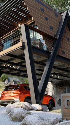 Promoción lanzamiento video de recorrido virtual 3D en canal de Youtube Village House Design, Village Houses, Modern Small House Design, Tiny House Design, Container House Plans, Container House Design, Casas Containers, Tiny House Cabin, Forest House