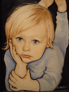 """J. Miller """"my niece"""" oil on canvas.  I very much like the effect of the outlining."""