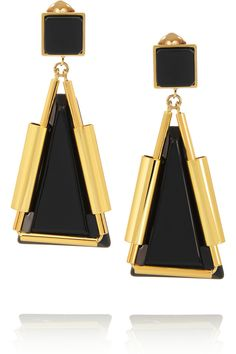 Marni | Gold-plated, horn and resin clip earrings | NET-A-PORTER.COM