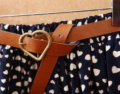 Navy Belt Hearts Print Cotton Skirt - Sheinside.com Mobile Site