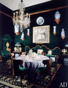 Remembering AD100 Designer Alberto Pinto.  A green velvet dining room by the designer..