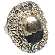 Large Pyrite In Magnetite (healer's Gold) 925 Sterling Silver Ring Size 9 RING763741