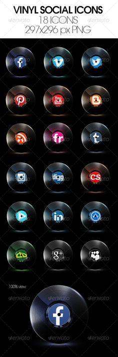 Vinyl+Music+Social+Media+Icons