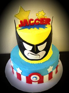 Superhero cake with Wolverine & Captain America