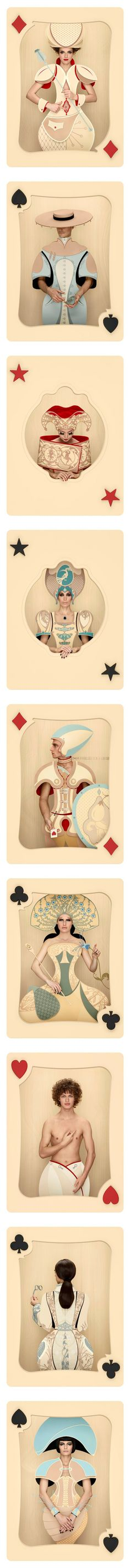 'Cards' is a surreal and whimsical photo series by photographer Christian Tagliavini featuring human models as playing cards. (http://www.christiantagliavini.com) (http://designtaxi.com/news/361147/Beautiful-Whimsical-Photos-Of-Playing-Cards-Featuring-Human-Models/)