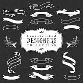 Chalk decorative ribbon banners. Designers collection.