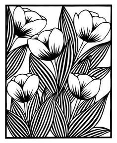 cut paper design Five Tulips