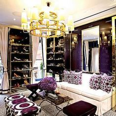 Mirrored Shoe Racks, Contemporary, closet