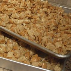 Ingredients  1 12.8-ounce box Rice Chex cereal  1 12-ponce box Golden Grahams cereal  1 7-ounce bag shredded coconut  1 4-ounce bag slivered almonds  1 1/2 cups butter (3…yes 3…sticks of butter)  2 cups sugar  2 cups corn syrup  Directions  Combine Rice Chex and Golden