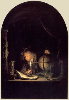 """Astronomer by Candlelight"", late Gerrit Dou (Dutch, 1613 - Paul Getty Museum Rembrandt, Chiaroscuro, Leiden, Gerrit Dou, The Beast, Baroque Art, Getty Museum, Illustration Art, Illustrations"