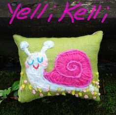 Snail Embroidery by Yelli Kelli on Etsy.
