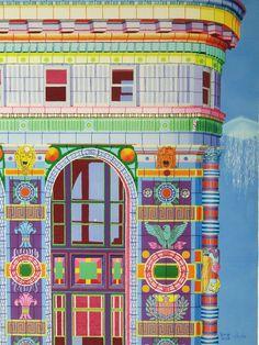 "Jessica Park, Flatiron Building, Acrylic on Paper, 16""×22"" 2004"