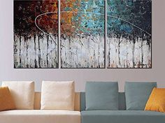 Hand-Painted'Color forest'3-Piece Gallery-Wrapped Flower Oil Painting On Canvas Wall Art Deco Home Decoration
