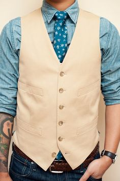 vest with a chambray shirt