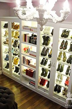 Keep the tissues close by! This back-lit shoe closet is utterly drool worthy.
