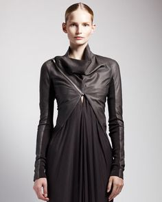 High-Low Leather Jacket by Rick Owens at Bergdorf Goodman.